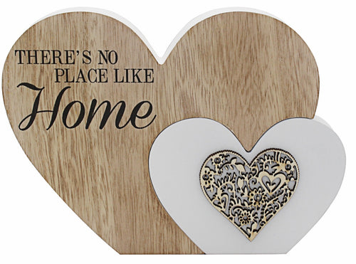 Sentiments Wooden Double Heart Block: There's no place like Home