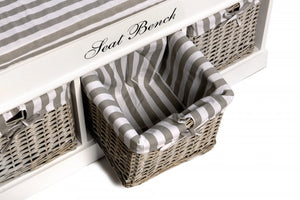 Seat Bench with Cushion and 3 Baskets - 2 Designs Available