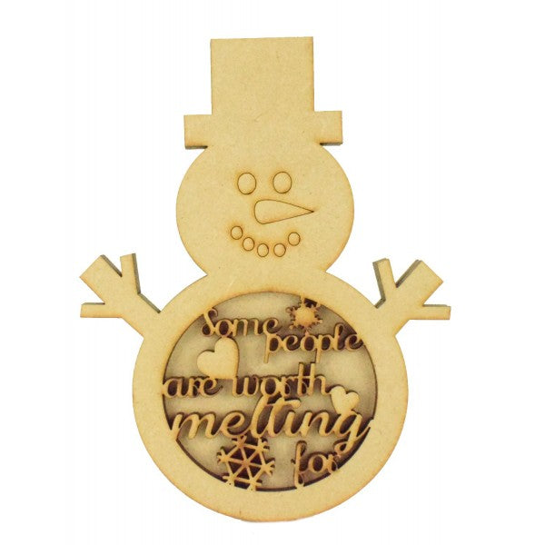 Customiseable Wooden 3D Snowman Shape Sign - 'Some people are worth melting for'