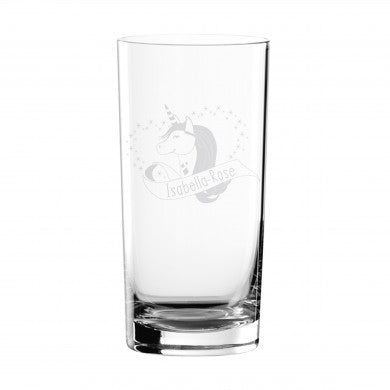 Personalised Unicorn Heart Hi Ball Glass