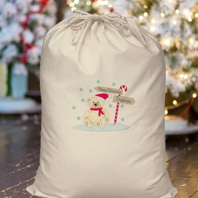Personalised Christmas Candy Cane Bear Cotton Sack