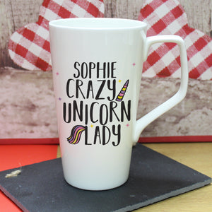 Personalised Crazy Unicorn Lady Bone China Latte Mug