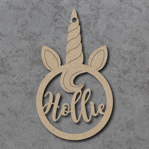 Personalised and Customisable Wooden Unicorn Name Decoration