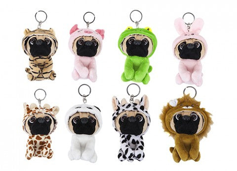 Fancy Dress Pug Soft Toy Keyrings / Backpack Buddys - Choice of Eight Available