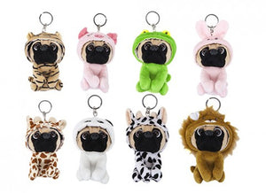Fancy Dress Pug Soft Toy Keyrings / Backpack Buddies - Choice of Eight Available