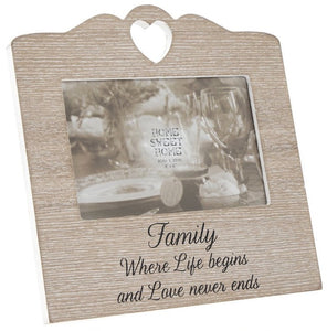 Wooden Sentiments Photo Frame with Heart Design - Family
