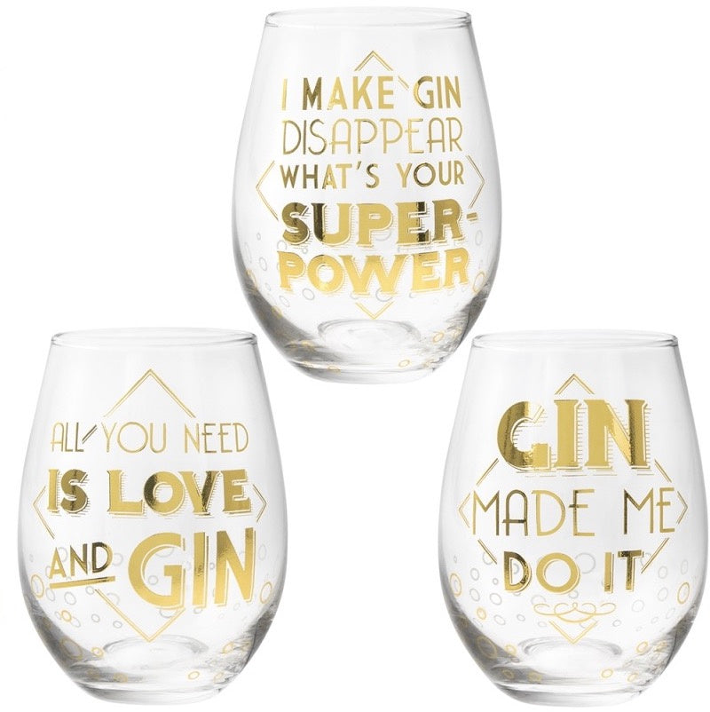 Gin Quote Stemless Glass - Choice of 3 designs