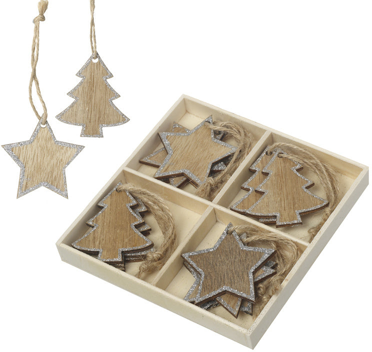 Christmas Tree Wooden Hanging Decorations