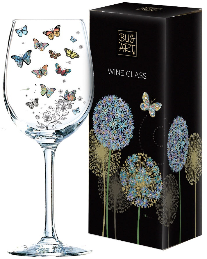 Patterned Butterfly Wine Glass