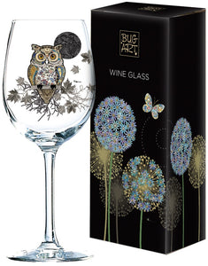 Patterned Owl Wine Glass