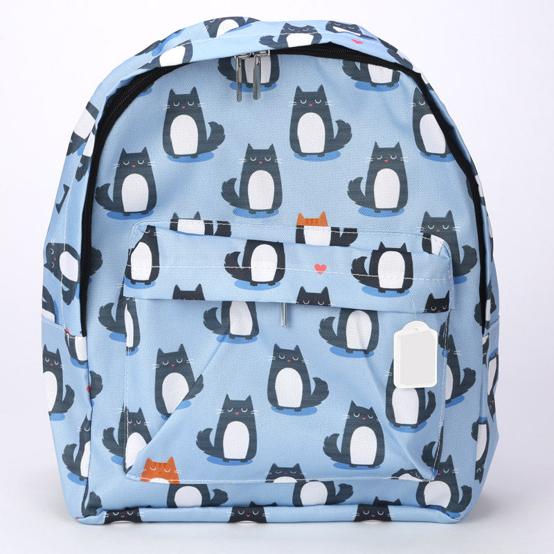 Cat 'Feline Fine' Printed Backpack