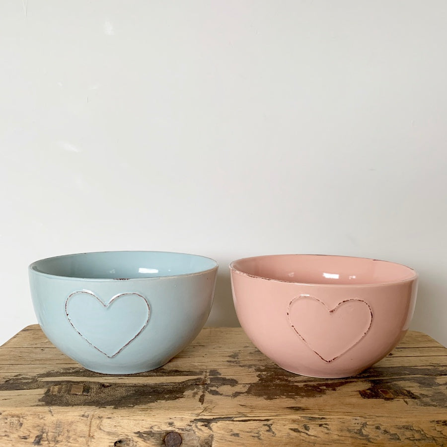 Shabby Chic Ceramic Bowl with Heart Motif - Available in Pink, Blue and Cream
