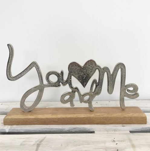 You & Me Free Standing Decoration - perfect for Valentine's Day, Weddings and Anniversaries