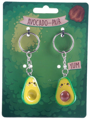 Avocado Pair Keyring (2 Keyrings for 1 Price) - Cute Valentine's Day Gift!
