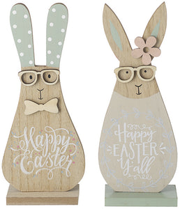 Pastel Wooden 'Happy Easter' Bunny