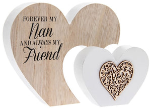 Sentiments Wooden Double Heart Block 'Forever my .... Always My Friend' ': Mum, Nan, Grandma, Sister or Daughter