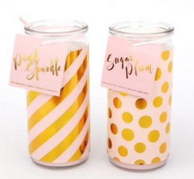 Pink and Gold Design Tube Candle - Available in either Stripes or Dots