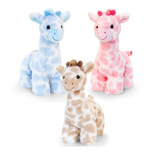Keel Toys Snuggle Giraffe Soft Toy (18cm) - Available in Blue, Pink or Natural (Brown)