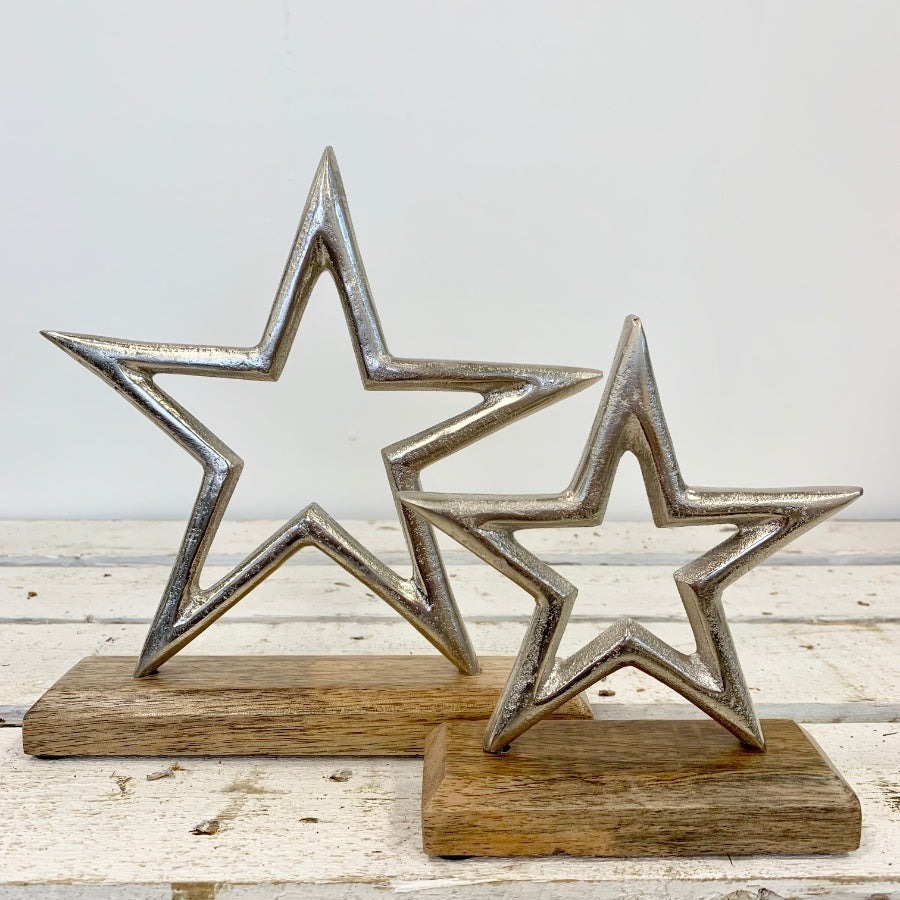 Aluminium Star Decoration/Ornament on Wooden Stand