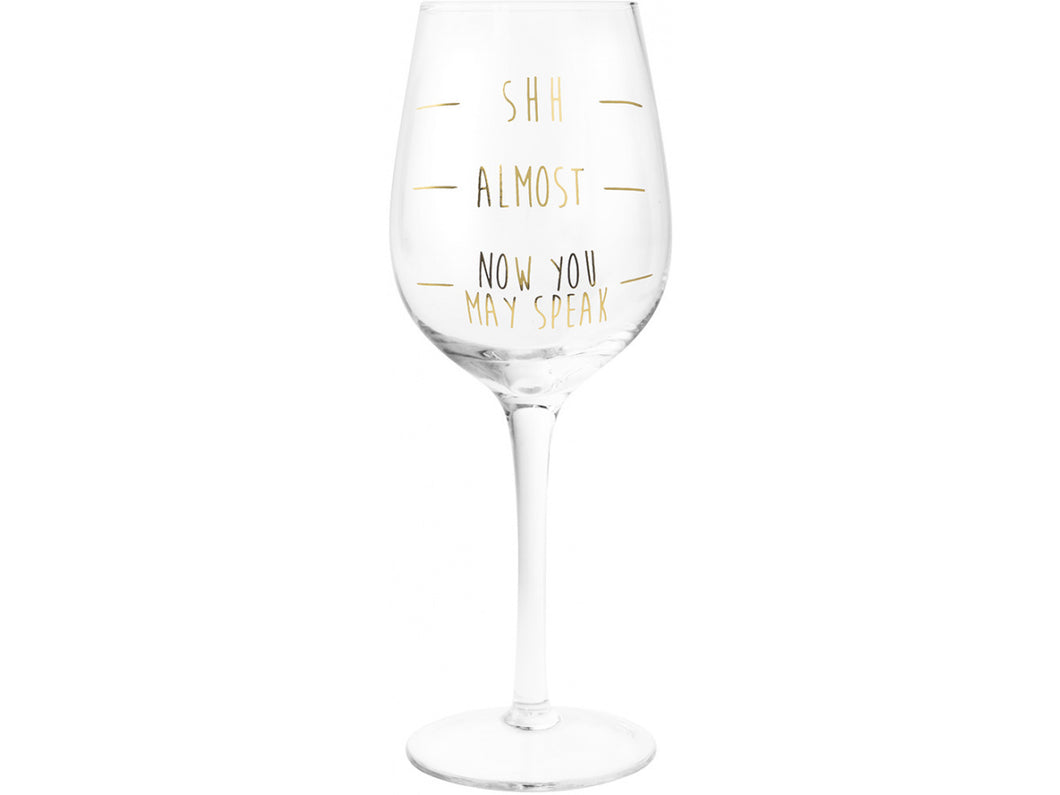 Gold Shhh Wine Glass