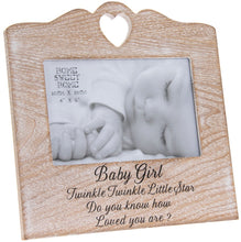 Wooden Sentiments Photo Frame with Heart Design - 'Baby Boy' or 'Baby Girl' available