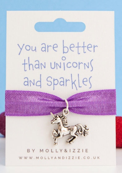 Child's 'Better than Unicorns and Sparkles' Ribbon and Charm Bracelet