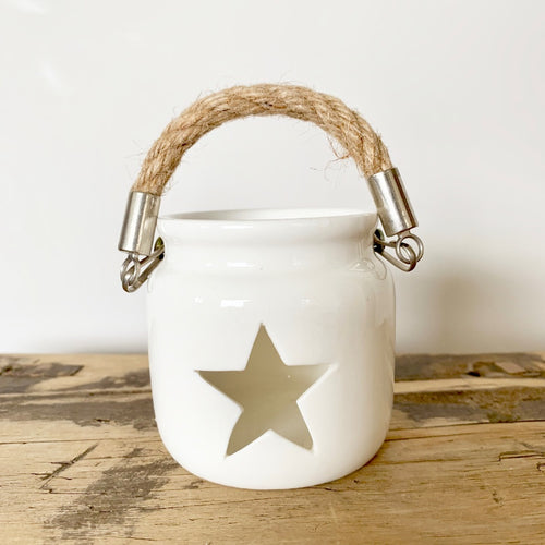 White Porcelain Star Tealight Lantern with Rope - Available in Small or Large