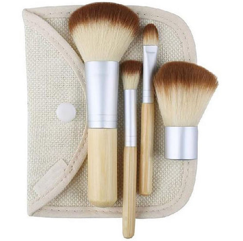 4 Piece Eco-Friendly Bamboo Handle Mini Makeup Brush Set (Travel Size)