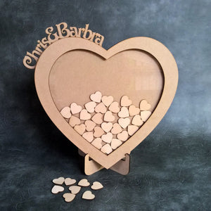 Personalised and Customisable Wooden Wedding Heart Drop Box V2