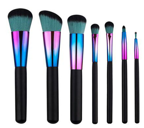 7 Piece Metallic Colours Black-Mint Hair Makeup Brush Set