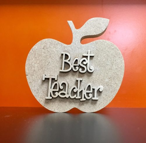 Wooden 'Best Teacher' Free Standing Apple - Two sizes available