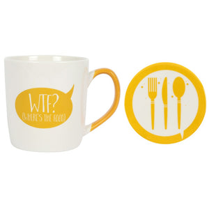 'WTF? (Where's the Food)' Mug and Coaster Set
