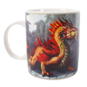 Golden Mountain Dragon Mug - Design by Anne Stokes