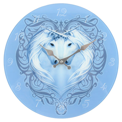 'Unicorn Heart' Glass Wall Clock - An Anne Stokes Design
