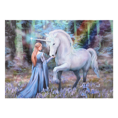 'Bluebell Woods' Unicorn Canvas Plaque by Anne Stokes - 70cm x 50cm