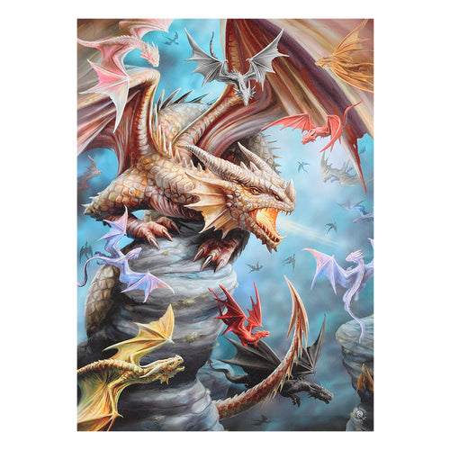 'Dragon Clan' Canvas Plaque by Anne Stokes - 50 x 70cm