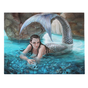 'Hidden Depths' Mermaid Canvas Plaque by Anne Stokes - 25 x 19cm