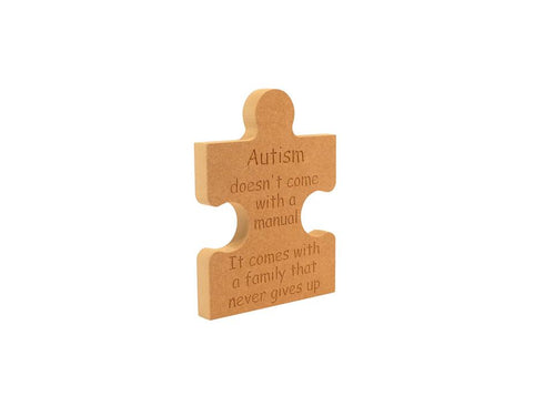 Customisable Wooden Autism Freestanding Jigsaw Shaped Piece (18mm)