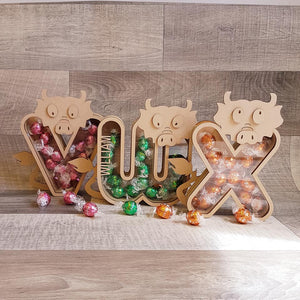Customisable Wooden Dragon Bubble Letter (Chocolate) Holder - Can be Personalised
