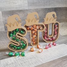 Customisable Wooden Christmas Elf Hat Bubble Letter (Chocolate) Holder - Can be Personalised