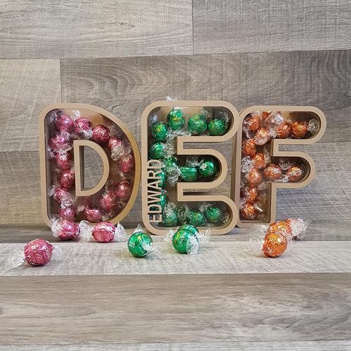 Customisable Wooden Bubble Letter (Chocolate) Holder - Can be Personalised