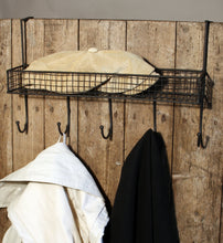 Mesh Over Door Shelf With 5 Hooks in Cream or Black - Ideal for the Kitchen, Bathroom or Bedroom