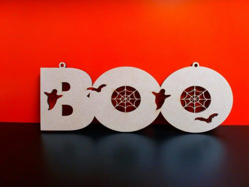 Customisable Wooden Hanging 'Boo' Sign - perfect for Halloween