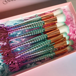 10 Piece Ombre Mermaid Makeup Brush Set (inc. Gift Box)