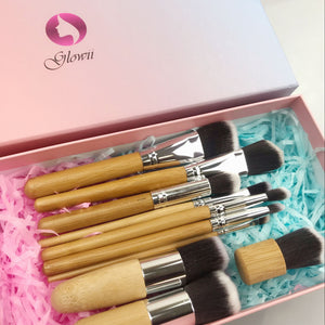 11 Piece Bamboo Handle Makeup Brush Set (inc. Gift Box)