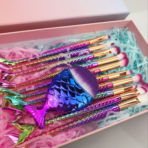 11 Piece Mermaid Makeup Brush Set - Choose from Standard or Shiny! (Inc. Gift Box)