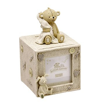 Button Corner Resin Cube Money Box with space for photo