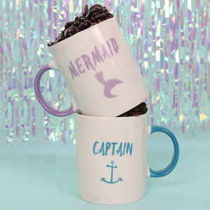 Captain and Mermaid Ceramic Mug Set
