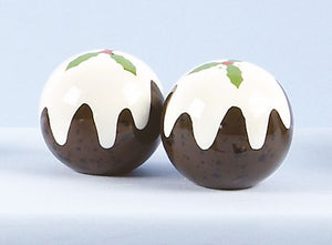 Christmas Pudding Ceramic Salt and Pepper Shaker Set