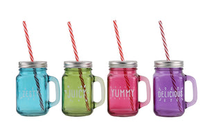 Four Assorted Party Glass Mason Jars with Straws